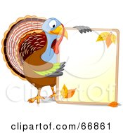 Royalty Free RF Clipart Illustration Of A Thanksgiving Turkey Holding A Blank Autumn Sign With Text Space by Pushkin