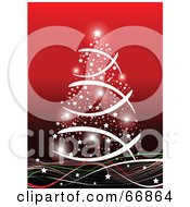 Royalty Free RF Clipart Illustration Of A White Christmas Tree Made Of Lights On Red