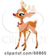 Royalty Free RF Clipart Illustration Of A Baby Reindeer With A Red Nose And Bell Collar by Pushkin