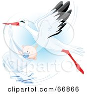 Royalty Free RF Clipart Illustration Of A Beautiful Stork Delivery A Baby Boy by Pushkin