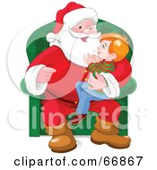 Royalty Free RF Clipart Illustration Of An Excited Boy Sitting In Santas Lap by Pushkin