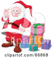 Royalty Free RF Clipart Illustration Of A Thoughtful Santa Playing With His Beard And Standing By Gifts