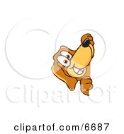 Brown Dog Mascot Cartoon Character Peeping Around A Corner
