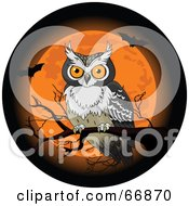 Royalty Free RF Clipart Illustration Of A Halloween Owl Perched On A Bare Branch In Front Of An Orange Full Moon With Bats by Pushkin