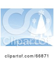 Royalty Free RF Clipart Illustration Of A Light Blue Merry Christmas Greeting Background With Snowflake Trees by Pushkin
