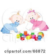 Royalty Free RF Clipart Illustration Of A Baby Boy And Girl Crawing By Toys