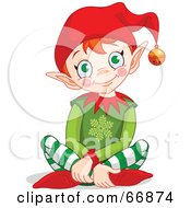 Royalty Free RF Clipart Illustration Of A Happy Christmas Elf Sitting On The Floor