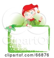 Royalty Free RF Clipart Illustration Of A Christmas Elf Standing Behind A Green Blank Sign by Pushkin