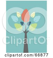 Royalty Free RF Clipart Illustration Of A Tall Autumn Tree On Turquoise