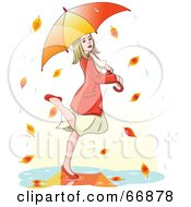 Royalty Free RF Clipart Illustration Of A Blond Woman Dancing In Autumn Rain Under An Umbrella
