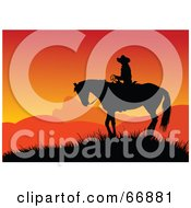 Royalty Free RF Clipart Illustration Of A Silhouetted Cowboy On Horseback Against An Orange Sunset by Pushkin