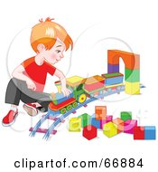 Royalty Free RF Clipart Illustration Of A Red Haired Boy Playing With A Toy Train