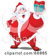 Royalty Free RF Clipart Illustration Of Santa Smiling And Holding Up A Gift