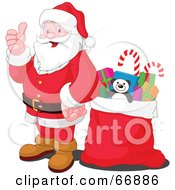 Royalty Free RF Clipart Illustration Of Santa Giving The Thumbs Up And Standing By A Sack