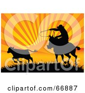 Royalty Free RF Clipart Illustration Of A Silhouetted Cowboy Roping A Calf At Sunset by Pushkin