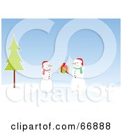 Royalty Free RF Clipart Illustration Of A Snowman Giving A Christmas Present To A Friend by Pushkin