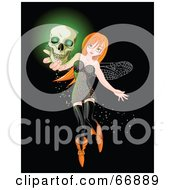 Royalty Free RF Clipart Illustration Of A Sexy Red Head Halloween Fairy Holding A Glowing Skull