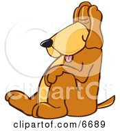 Brown Dog Mascot Cartoon Character Tired And Worn Out Sleeping While Sitting Up Clipart Picture by Toons4Biz