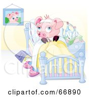 Royalty Free RF Clipart Illustration Of A Sick Piggy Resting In Bed