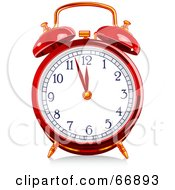 Royalty Free RF Clipart Illustration Of A Red Shiny Alarm Clock