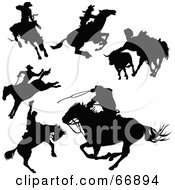 Poster, Art Print Of Digital Collage Of Black Cowboy Silhouettes - Version 1