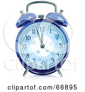 Royalty Free RF Clipart Illustration Of A Blue Winter Alarm Clock by Pushkin