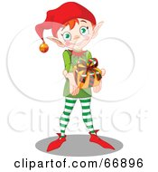 Royalty Free RF Clipart Illustration Of A Thoughtful Christmas Elf Holding Out A Present by Pushkin