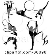 Digital Collage Of Black Gymnastics Silhouettes