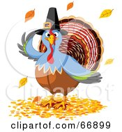 Royalty Free RF Clipart Illustration Of A Thanksgiving Turkey Bird Wearing A Pilgrim Hat And Standing In Fall Leaves by Pushkin
