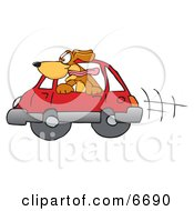 Poster, Art Print Of Brown Dog Mascot Cartoon Character Sticking His Head Out Of A Car Window