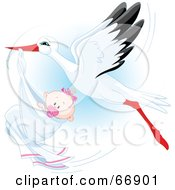 Royalty Free RF Clipart Illustration Of A Beautiful Stork Delivery A Baby Girl by Pushkin