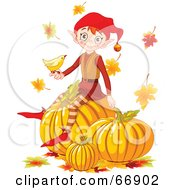 Royalty Free RF Clipart Illustration Of A Thanksgiving Elf Sitting On Top Of Pumpkins A Bird In Hand