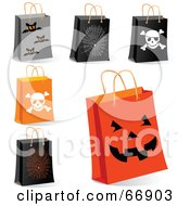 Royalty Free RF Clipart Illustration Of A Digital Collage Of Halloween Shopping Bags by Pushkin