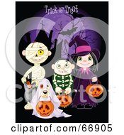 Children And A Dog Trick Or Treating In Mummy Skeleton Ghost And Witch Costumes