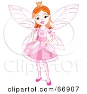 Pretty Red Haired Fairy Princess Girl In A Pink Dress