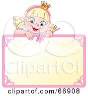 Blond Fairy Princess Peeking Over A Blank Sign