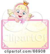 Royalty Free RF Clipart Illustration Of A Blond Fairy Princess Peeking Over A Blank Sign