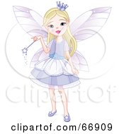 Royalty Free RF Clipart Illustration Of A Pretty Blond Fairy Princess Girl In A Purple Dress by Pushkin