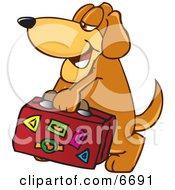 Brown Dog Mascot Cartoon Character Carrying Luggage