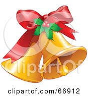 Royalty Free RF Clipart Illustration Of Two Ringing Christmas Bells With A Red Bow And Holly