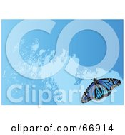 Royalty Free RF Clipart Illustration Of A Blue Background With Waves And A Blue Butterfly