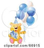 Royalty Free RF Clipart Illustration Of A Teddy Bear With A Gift Party Hat And Blue Balloons by Pushkin