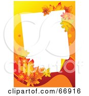 Royalty Free RF Clipart Illustration Of A White Text Box Framed With Colorful Autum Leaves On Orange