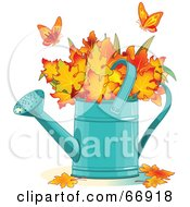 Royalty Free RF Clipart Illustration Of Two Butterflies Over Autumn Leaves In A Watering Can