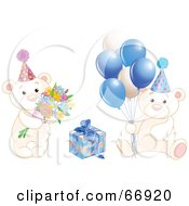 Royalty Free RF Clipart Illustration Of A Digitial Collage Of Birthday Teddy Bears With Blue Balloons Flowers And A Present