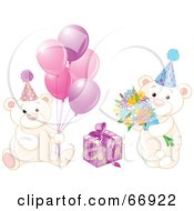 Royalty Free RF Clipart Illustration Of A Digitial Collage Of Birthday Teddy Bears With Pink Balloons Flowers And A Present