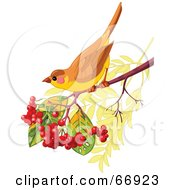 Royalty Free RF Clipart Illustration Of An Autumn Bird Perched On A Branch With Berries