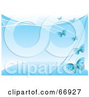 Royalty Free RF Clipart Illustration Of A Blue Background With Blue Flying Butterflies