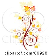 Royalty Free RF Clipart Illustration Of An Autumn Floral Scroll With Orange Fall Leaves