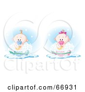 Royalty Free RF Clipart Illustration Of A Digital Collage Of A Baby Boy And Girl Taking A Bubble Bath